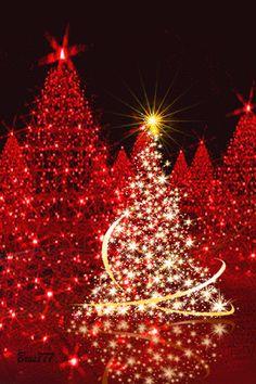 Christmas - red Christmas trees gif