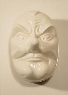 japanese tengu demon mask ceramic powder box