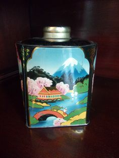 Murray Allen Antique Asian Scenes of Japan Water Fowl & Flower Motif Tea Biscuit Storage Canister Tin with Lid 1950's