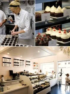 boring aesthetic but mix of cool and ambient displays integrated with countertop Cake Shop Design, Bakery Design, Cafe Design, Restaurant Design, Bakery Decor, Bakery Display, Bakery Ideas, Cupcake Shops, Cupcake Bakery