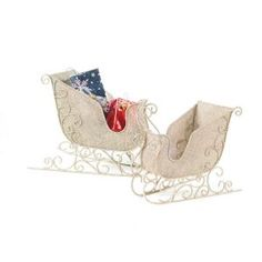 Melrose Set of 2 Victorian Inspirations Antique White Christmas Sleigh Decorations