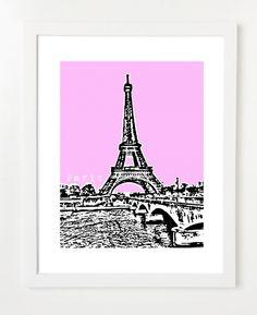 Paris France Art Print Eiffel Tower Art Print by BugsyAndSprite