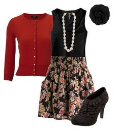 Cute floral patterned dress with red cardigan, black shoes and accessories 1940s Fashion, Vintage Fashion, Style Fashion, Hamilton Outfits, Stylish Outfits, Cute Outfits, Business Outfits, Business Clothes, Short Lace Wedding Dress