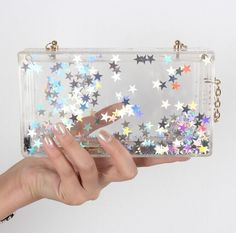 sliver stars transparent shoulder bag party clutch handbag Perspex chain bag