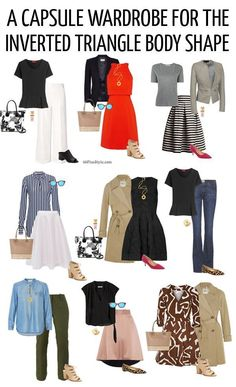 Capsule wardrobe for inverted triangle body shape | http://40plusstyle.com
