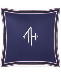 "Tommy Hilfiger Monogram Grosgrain Flange 18"" Square Decorative Pillow - Blue"