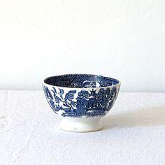 Bowl Blue Willow Antique Ironstone Transferware China Tea Coffee Drinking Bowl Dutch Holland Cafe Au Lait Bowl