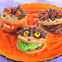 Monster Cookies: You'll be able to create these deliciously spooky monsters by using refrigerated chocolate chip cookie bar dough, a variety of decorator gels and an assortment of candies and nuts.