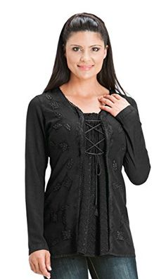 HolyClothing Monique Classic Gypsy Chic Embroidery Boho Flowing Blouse Tunic - 3X-Large - Black Midnight. Jacquard Chiffon front inlay gathers with Dori Ribbon lace-up over the bust. Full-length sleeves well-suited to professional wear and comfortable in cooler temperatures. Over 2.5 yards (2.3 meters) of Butter-Soft viscose/rayon breathes naturally for year round comfort. Gorgeous Floral Embroidery and over 2.7 yards (2.5 meters) of petite Kringi Lace add delightful detail. Back ties ensure…