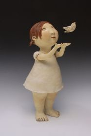 Letting Go - Sculpture by Kina Crow Paper Mache Sculpture, Pottery Sculpture, Sculpture Art, Ceramic Figures, Ceramic Art, Clay Dolls, Art Dolls, Pottery Videos, Crow Art