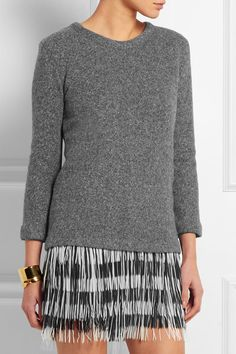 Tonal-gray wool, cotton and polyamide-blend, black and white georgette Slips on 42% wool, 40% cotton, 15% polyamide, 3% other fibers; trim: 100% polyester; lining: 100% polyester Dry clean Designer color: Heather Charcoal
