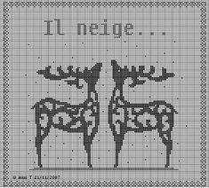 free cross stitch chart -- two elk/deer/reindeer