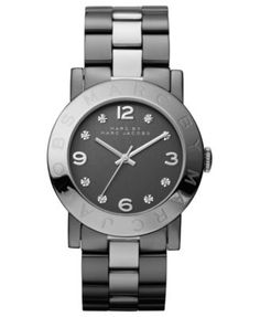 Marc by Marc Jacobs Watch, Women's Silver and Gunmetal Ion-Plated Stainless Steel Bracelet 36mm MBM3196