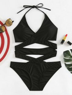 SheIn offers Criss Cross Wrap Swimsuit & more to fit your fashionable needs. Bathing Suits For Teens, Summer Bathing Suits, Cute Bathing Suits, One Piece Swimsuit For Teens, Pretty Swimsuits, Summer Outfits, Cute Outfits, Bikini Outfits, Teen Fashion Outfits