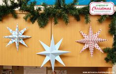 Botanical PaperWorks 12 Weeks of Christmas: Free Printable Hanging Stars + Tutorial- These would make great ornaments or even gift tags