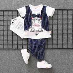 Children Girls Garment Baby Summer Fashion Brand Gentleman Vest Suit 1-4 Years Old Kids Twinset New Pattern Tide Boys Tracksuits