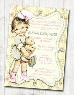 Vintage baby shower for girl princess pink diy printable shabby chic floral vintage baby shower invitation for by jjmcbean 2300 filmwisefo Images