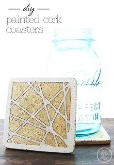 DIY Painted Cork Coasters, via www.thegoldjellybean.com