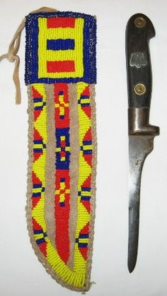 Reservation period 1930-40's Sioux beaded knife sheath & 19th century trade knife.
