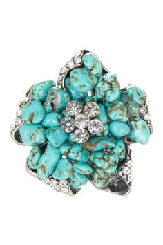 Jewelry by Felicia Turquoise Flower Stretch Ring