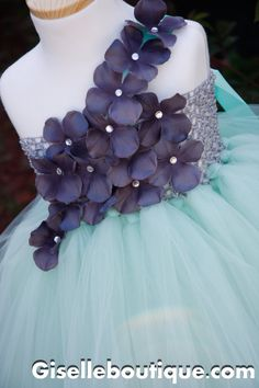 Mint with Dark Gray Flowers Tutu Dress Wedding by giselleboutique, $85.00