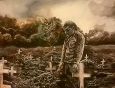 A Serbian soldier at the grave of his comrade, World War I, 1916. Watercolor, ink, and acrylic on 5x7″ Stonehenge cotton paper.