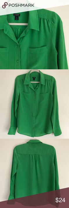 J. Crew Emerald Green Silk Blouse Gorgeous emerald green 100% silk makes a beautiful blouse.  Covered buttons, two pockets, tab placket.  Dry clean. J. Crew Tops Blouses
