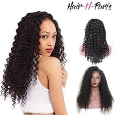 Pre Plucked 360 Lace Frontal Wig with Baby Hair Glueless 360 Full Lace Wig Deep Wave Human Hair for Black Women Natural Hairline Short Hair Wigs, Human Hair Lace Wigs, Curly Hair, Human Wigs, Remy Human Hair, Brazilian Hair Bundles, Natural Hair Styles For Black Women, Black Wig, Bleached Hair