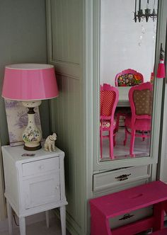 pink patchwork dining chairs