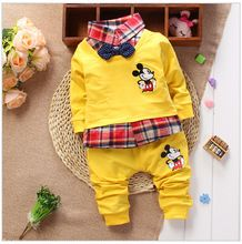 Retail 2015 New Style Children's Suits Classic cartoon Boys Suits Baby Lapel t Shirt+Pants Suits Newborn Clothing Kids Sets(China (Mainland))
