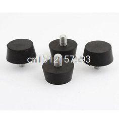4 Pcs Rubber Screw On Type M10 40mm Head Diameter Handle Knob Black