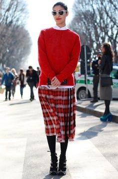 We heart this tartan skirt with a complementing red jumper. #tartan #aw12 #modernbrit #streetstyle