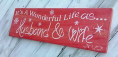"Christmas Wedding Sign, 1st Christmas, gift! ""It's a Wonderful Life as ... Husband and Wife"""
