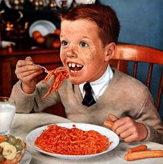 The Eager Eater  This ravenous young eater from 1954 is ready to dig into his franks and spaghetti.