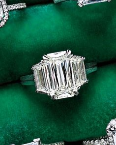 Dazzling Engagement Rings  ~~  Crisscut Emerald-Cut Diamond Engagement Ring  ~  Though Christopher Designs's Goliath creates the illusion of one giant stone, it's actually a Crisscut emerald and two trapezoids (christopherdesigns.com).
