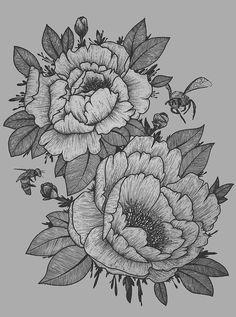 • tattoo artist flower ink blackandwhite myartwork peonies perth peony micron Dotwork linework peonytattoo upon-the-shores •