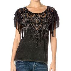 Miss Me Women's Aztec Fringe Short Sleeve Shirt