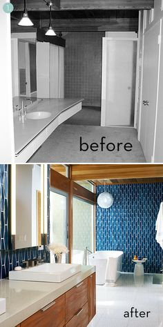 I adore these bathroom tiles... modern yet they also have a Moroccan vibe. The rich blue tones look great with the wood. And I like how the tiles are outlined in white... and all the other white in the room.   The 'before' was so dreary and unfocused and out-of-scale. The 'after' has a nice mid-century modern vibe and tons of character.
