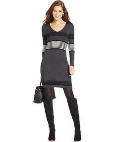 Spense Petite Striped Sweater Dress - Dresses - Women - Macy's
