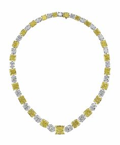 A magnificent colored diamond and diamond necklace by Graff. Designed as a graduated line of twenty-three oval-cut diamonds alternate with cushion, modified square and modified rectangular-cut fancy intense yellow diamonds, centering upon a modified rectangular-cut fancy intense yellow diamond, weighing approximately 7.67 carats, mounted in platinum and yellow gold, with pendant hook for suspension, 16 ins. #ChristiesJewels #DiamondNecklace