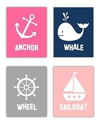 Nautical Art Whale, Wheel, Boat, Anchor Art