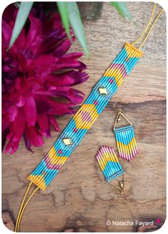 Micro macrame set, with miyuki delica seed bead. Mustard yellow, teal, pink and gold. © Natacha Fayard #macrame #MicroMacrame #set #earrings #bracelet #chevron #diamond #stud #miyuki #delica #SeedBeads #etsy #NatachaFayard