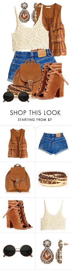 """""""hippie style"""" by sally92 on Polyvore featuring moda, Robe di Firenze, Forever 21, Gianvito Rossi, H&M, Gemma Simone, hippie, polyvorecommunity, summerbooties e summer2017"""