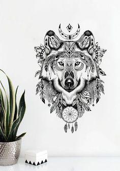 Aztec Design Wolf Head Wall Decal