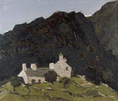 """Sir John """"Kyffin"""" Williams (Welsh, 1918-2006). Cottages, Eryri, c. 1960-1980 (Llyfrgell Genedlaethol Cymru/The National Library of Wales)."""