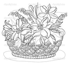Flower Basket Drawing | FloweryWeb
