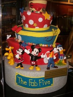 "Mickey Mouse, Minnie Mouse, Goofy, Donald Duck, Pluto and gang cake  This would be a great cake if your theme was involving the basic Disney characters  Icing on the Cake"" for you Disney World vacation. - A Glass Slipper Vacation.com"