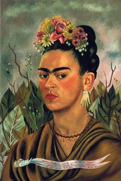 프리다칼로 자화상 -프리다칼로 <001. 꽃을 이용한 장식> 프리다 칼로는 학창시절에 사고를 당하여, 많이 아팠고, 병실에 누워있어야 했다고 들었다. 하지만 그녀는 아픈 상황에서도 예술활동을 하며 끊임없이 탐구하였다. 특히 자신의 얼굴을 그린 자화상을 많이 남겼는데, 꽃으로 장식한 머리와 진한 색상의 화장등을 통하여 아프지만 그럼에도 불구하고 당당한 아름다움을 나타낸준 이 그림이 참 인상적이었음을 느꼈다.