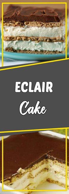 Eclair Cake Via #yummymommiesnet #appetizer appetizer recipes easy #recipe recipe #sundaysupper sunday supper ideas #dessert dessert ideas #dessertrecipes dessert recipes easy #desserttable dessert table ideas