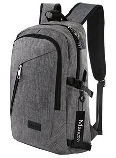 Mancro Business Laptop Backpack Grey for 17-Inch Laptop and Notebook with USB Charging Port and Lock